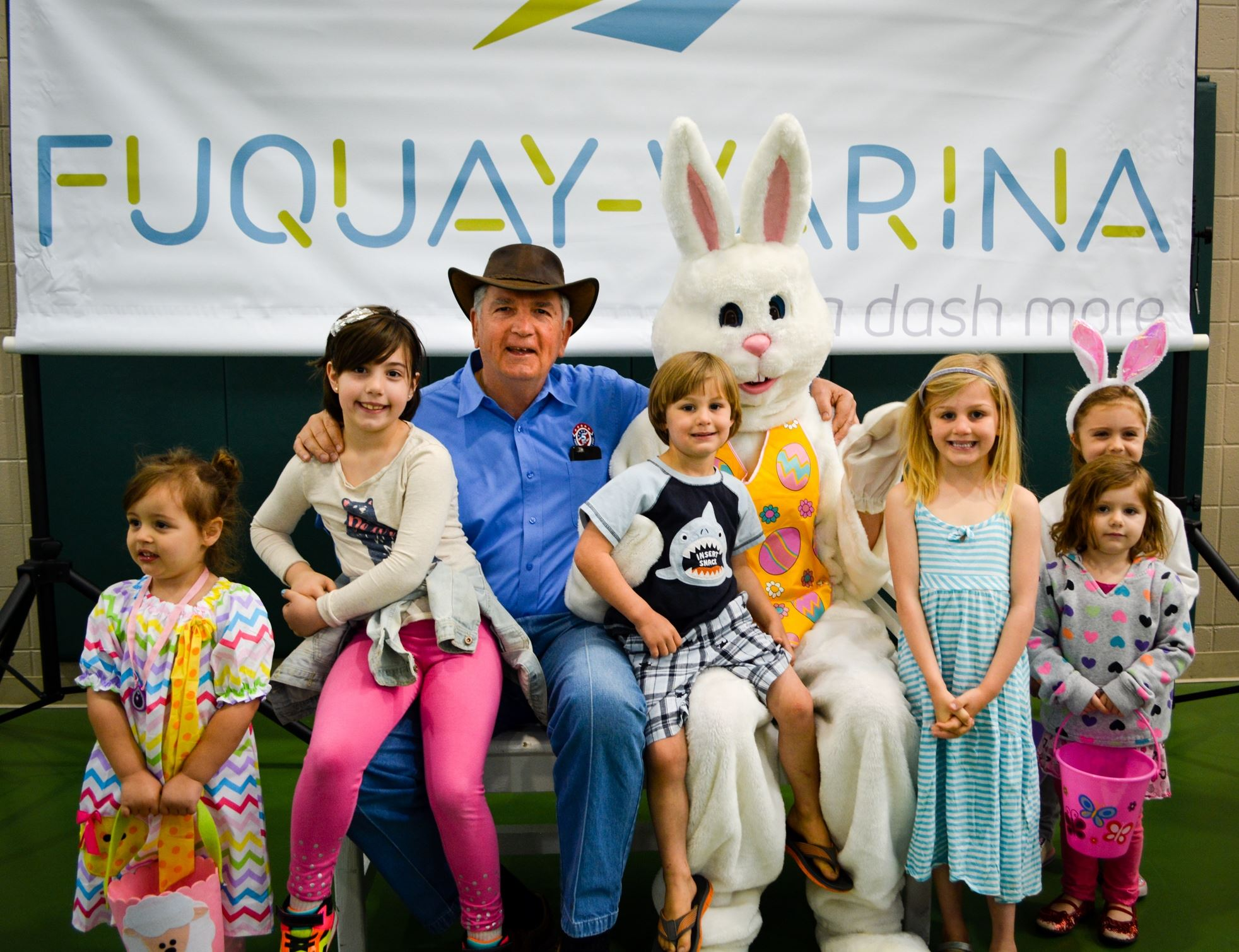 Mayor Byrne poses with Eater Bunny and kids