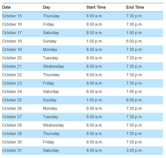 Early Voting Times